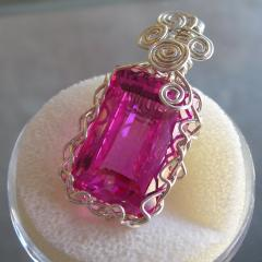 Pink Topaz Wire Wrapped Pendant